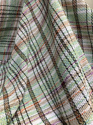 Italian Open Weave Plaid Cotton Blend Tweed Suiting - Multicolor