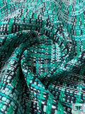 French Luxury Cotton Blend Tweed - Turquoise / Teal / Navy