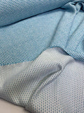 Italian Dot Pattern Cotton Blend Suiting - Summer Blue / White