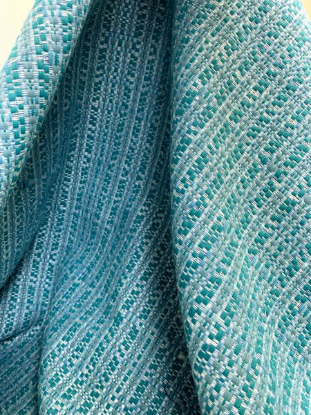 Italian Woven Striped Cotton Blend Tweed - Teal / Cadet Blue