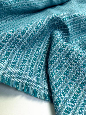Italian Woven Striped Cotton Blend Tweed Suiting - Teal / Cadet Blue