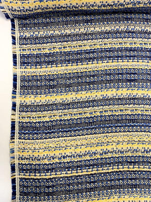 Italian Striped Woven Cotton Blend Suiting - Blue / Navy / Yellow / Off-White
