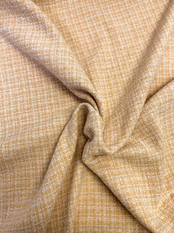 Condensed Plaid Double-Sided Jacket Weight Suiting - Clarified Orange / Off-White