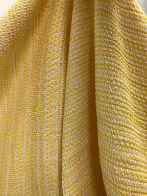 Italian Woven Striped Cotton Blend Suiting - Yellow / Off-White