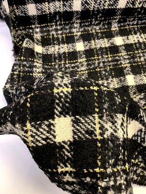 Famous NYC Designer Virgin Wool Jacketweight Boucle Tweed with Lurex - Black / Ivory / Yellow