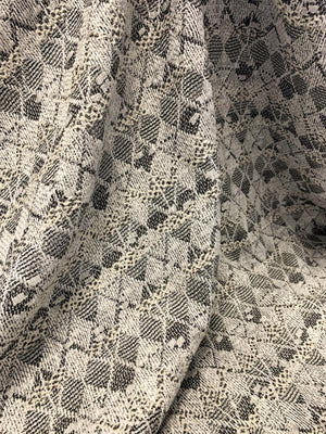 Italian Geometric Argyle Poly Cotton Tweed Suiting with Lurex - Off-White / Grey / Black