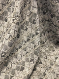 Italian Geometric Argyle Poly Cotton Tweed with Lurex - Off-White / Grey / Black