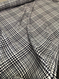 Italian Modern Glen Plaid Woven Poly Yarn-Dyed Suiting - Navy / White