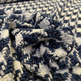 Italian Glam Basketweave Houndstooth Cotton Blend Suiting - Ivory / Postal Blue / Blue / Silver