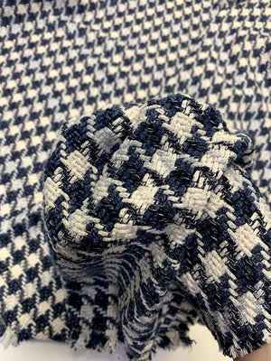 Italian Houndstooth Glam Woven Cotton Blend Suiting - Ivory / Postal Blue / Blue / Silver