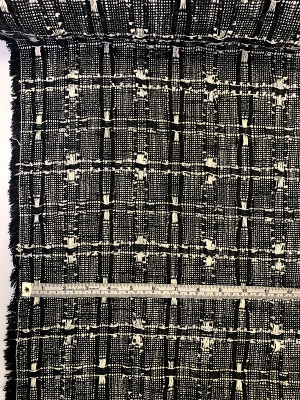 Made in England Linton Cotton Blend Tweed - Midnight Black / White