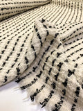 Made in England Loosely Woven Striped Wool Boucle Tweed - Ivory / Soft Black