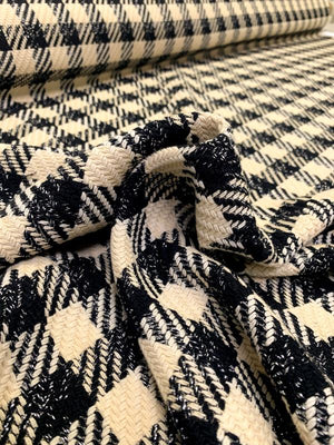 Italian Bold Gingham Woven Cotton Blend Tweed - Beige / Black / Silver