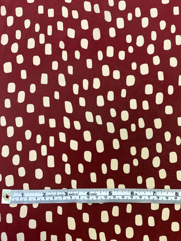 Lots of Dots Printed Silk Crepe de Chine - Maroon / Beige