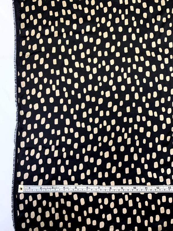 Lots of Dots Printed Silk Charmeuse - Black / Beige