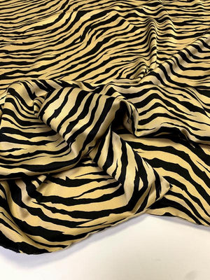 Tiger Printed Silk Charmeuse - Gold / Black