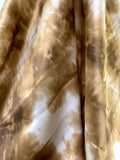 Tie-Dye Printed Silk Charmeuse - Mustard-Gold / Off-White
