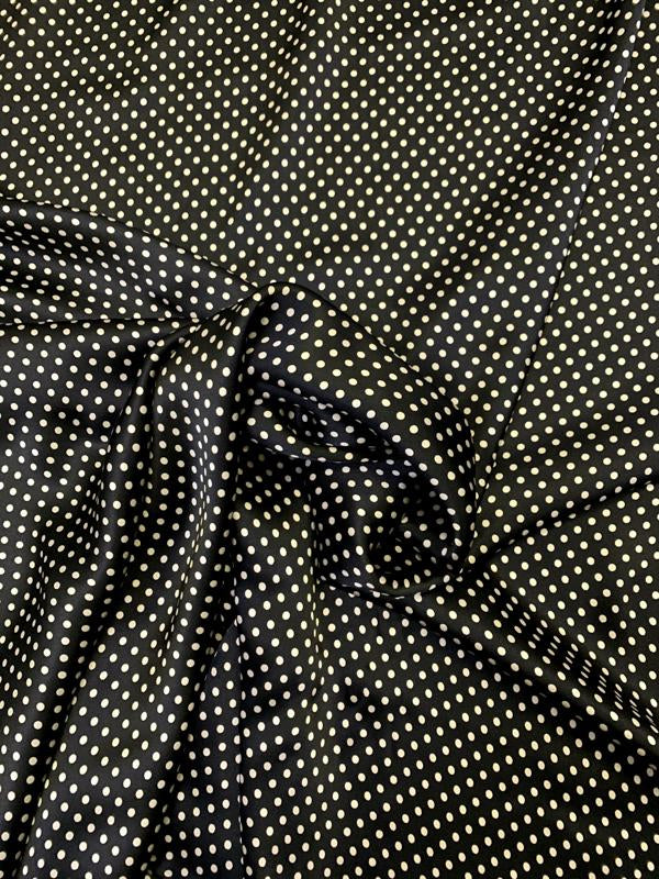 Mini Polka Dot Printed Silk Charmeuse - Black / Beige