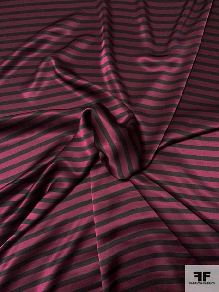 Horizontal Striped Printed Silk Charmeuse - Wine / Black