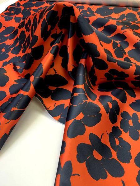 Italian Lela Rose Floral Printed Duchess Silk Blend Satin - Vermilion Orange / Navy