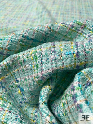 Italian Spring Time Cotton Tweed - Seafom / Multicolor