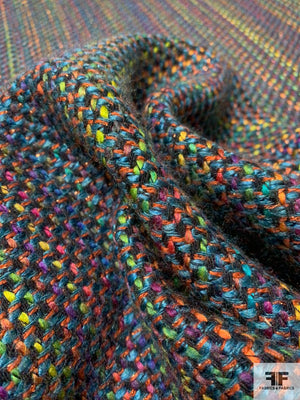Italian Colorful Vertical Woven Striped Tweed with Lurex - Teal / Multicolor
