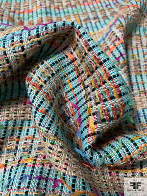 French Glamourous Cotton Blend Tweed with Texture and Lurex - Multicolor
