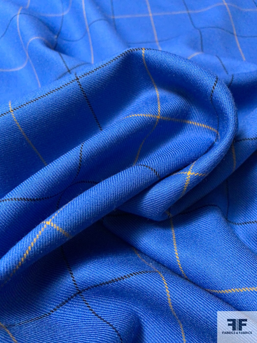 Italian Windowpane Virgin Wool Gaberdine Suiting - Process Blue / Black / Yellow