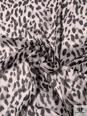 Animal Pattern Printed Silk Chiffon - Black / Grey