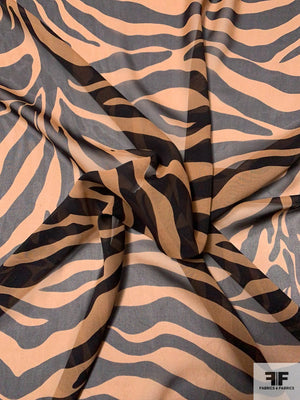 Tiger Printed Silk Chiffon - Copper Brown / Black
