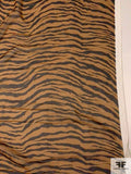 Baby Tiger Printed Silk Chiffon - Caramel Brown / Black