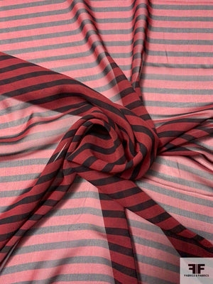 Horizontal Striped Printed Silk Chiffon - Maroon / Black