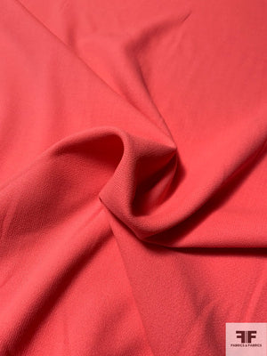 Italian Double Faced Wool Crepe with Stretch - Bright Coral