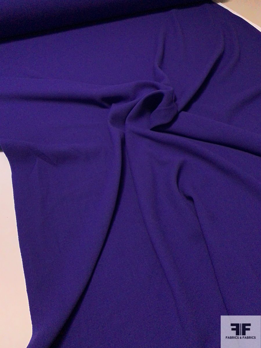 Italian Double Faced Wool Crepe with Stretch - Purple