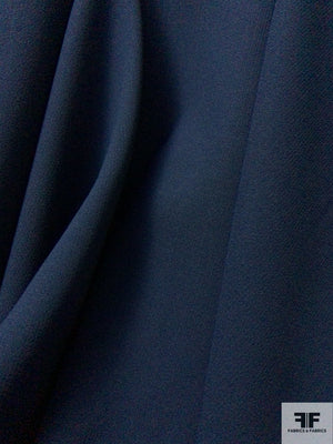 Italian Double Faced Wool Crepe with Stretch - Navy