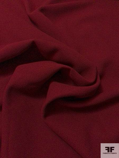 Italian Double Faced Wool Crepe with Stretch - Bordeaux