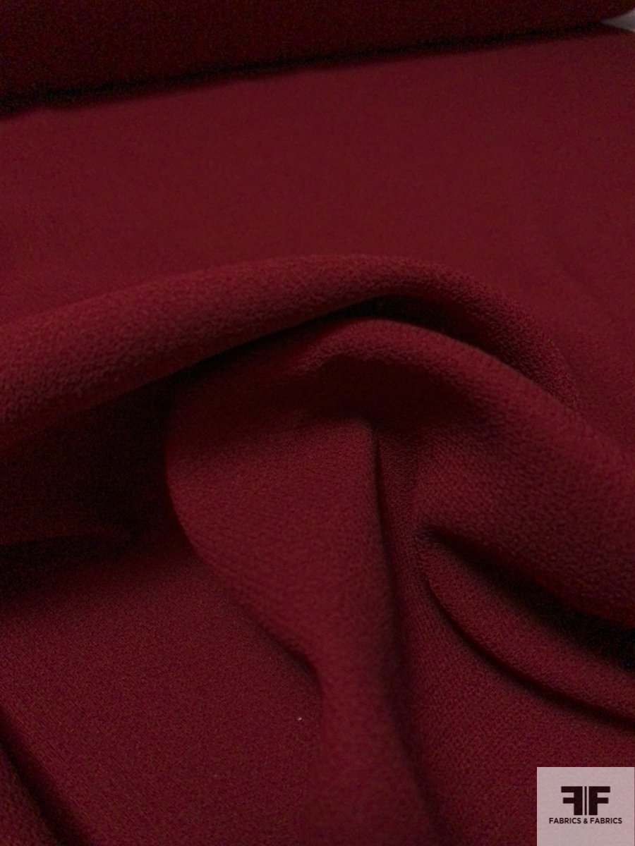 Italian Double Faced Wool Crepe with Fused Back and Stretch - Bordeaux