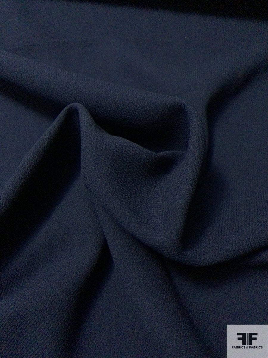 Italian Double Faced Wool Crepe with Stretch - Midnight Navy