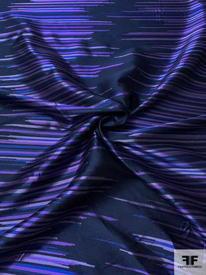 Futuristic Broken Striped Brocade - Navy / Purple / Blue