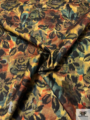 Hazy Floral Taffeta Brocade with Lurex - Black / Gold / Teal / Brick