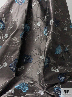 Italian Floral Embroidered Silk Shantung - Steel Grey / Blue / Turquoise / Silver