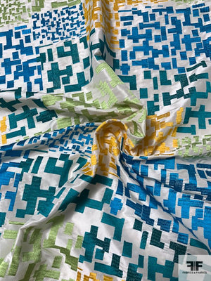Italian Geometric Matrix Embroidered Silk Taffeta - Teal / Lime / Yellow / Ivory