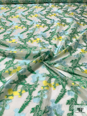 Floral Vines Fil Coupe Polyester Organza - Green / Yellow / Light Blue / White