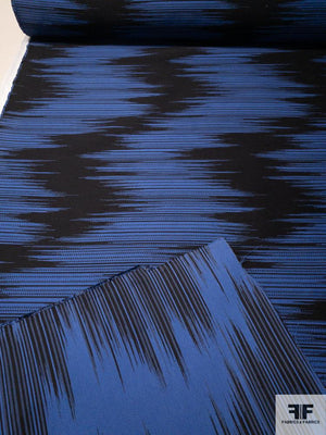 Large Scale Hazy Zig Zag Cotton Brocade - Blue / Black