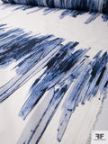 Painterly Brushstroke Printed Stretch Cotton Sateen Panel - Blue / Off-White