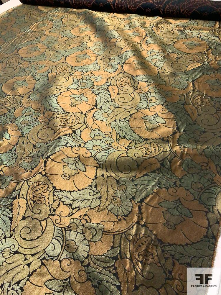 Double-Sided Metallic Ornate Regal Brocade - Dark Teal / Copper / Bronze / Gold / Black