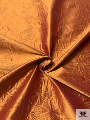 Iridescent Art Deco Swirl Textured Emboss-Look Silk Taffeta - Copper Orange