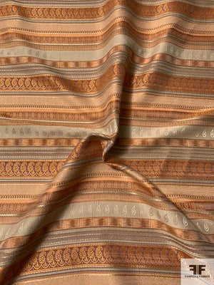 Made in France Multi-Patterned Striped Brocade - Orange / Tan / Brown