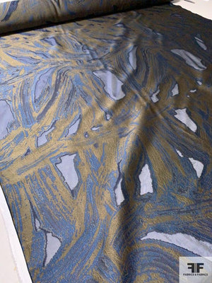 Large Scale Abstract Fil Coupe Polyester Novelty - Navy / Army Green
