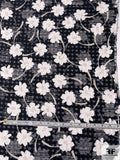 Italian Daisy Gingham Novelty Silk and Cotton Organza - Navy / White